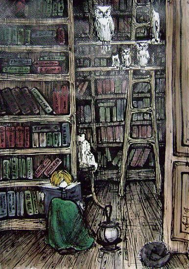 Library © Anna Tkacheva (Artist, Russia) aka AnnWeaver via DeviantArt. Watercolor and Ink. [I had thought scratchboard at first] Girl, Reader, Books, Ladder, Owls