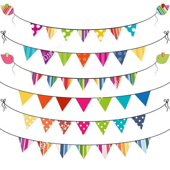 Instant Download Colorful Summer Bunting Clip Art By