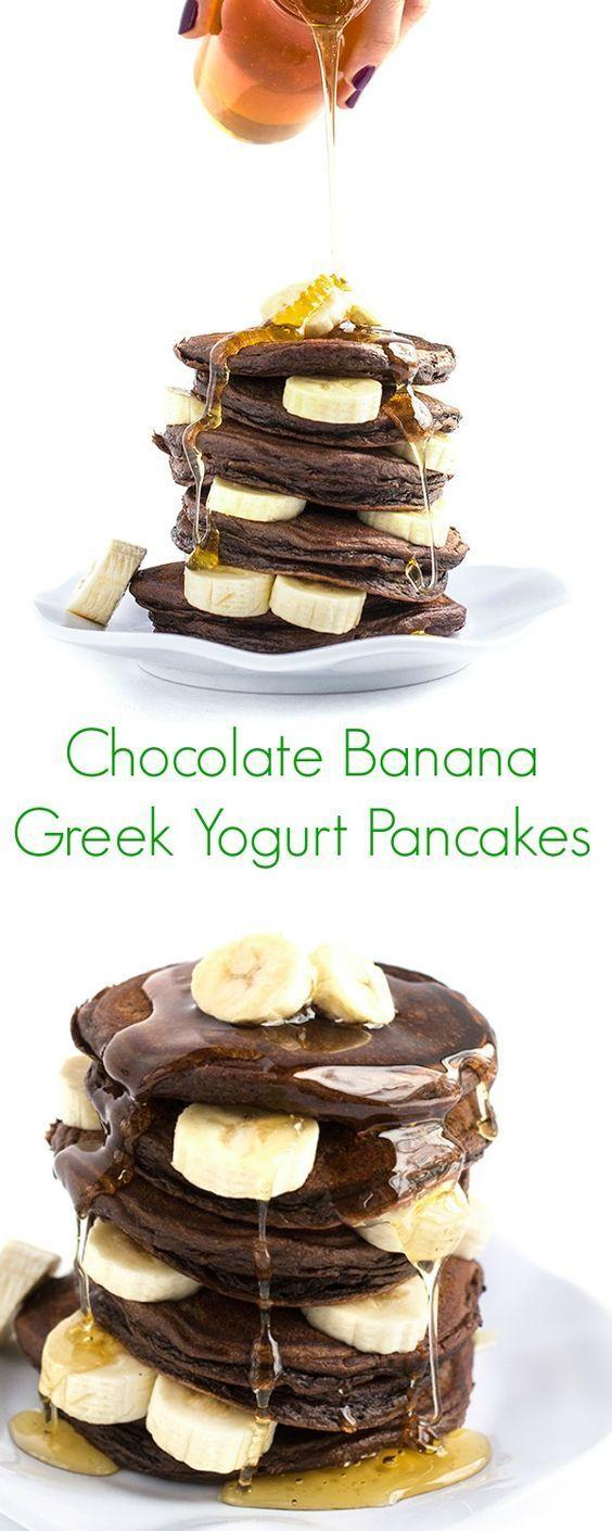 Chocolate Banana Greek Yogurt Pancakes Recipe - Protein-packed, easy, and the perfect healthy weekday breakfast or weekend brunch! - The Lemon Bowl