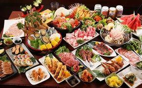 Обои разное, кукуруза, арбуз, бекон, мясо, роллы, крабы