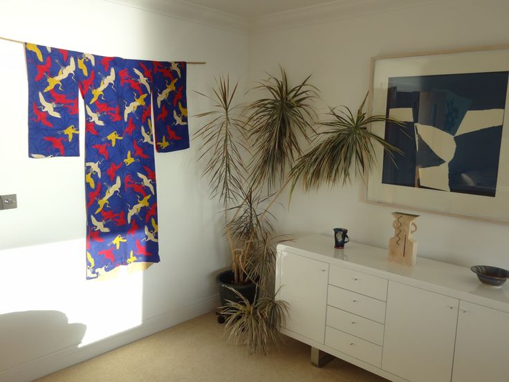 Show piece: Flight of Fancy kimono from early 1900 - one of my most favourite kimonos on display in a client's apartment in Bournemouth:) x