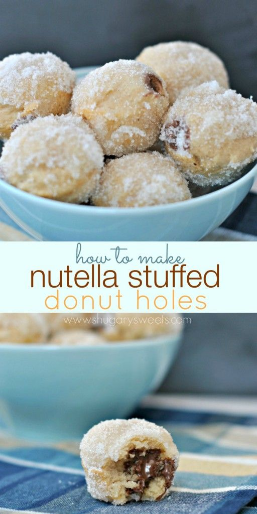 Nutella Stuffed Donut Holes: How to make bite sized sugar coated donut holes filled with nutella!