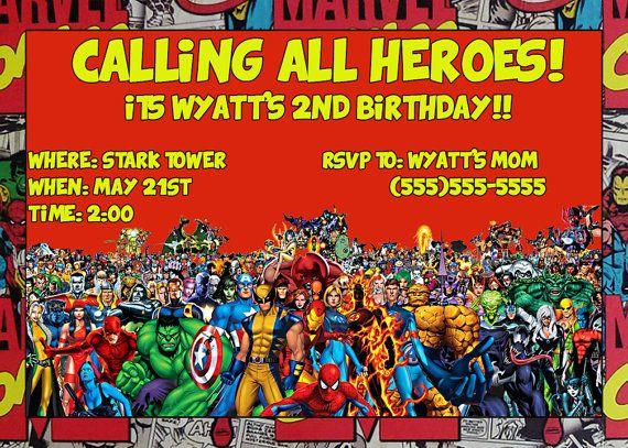 MARVEL BIRTHDAY PARTY invitation custom digital by BBNGRAFX