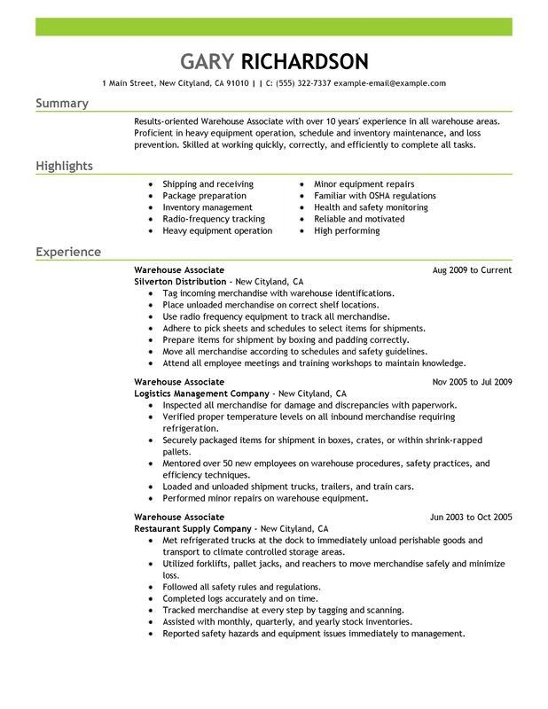 Example Professional Resume Use This Professional Warehouse