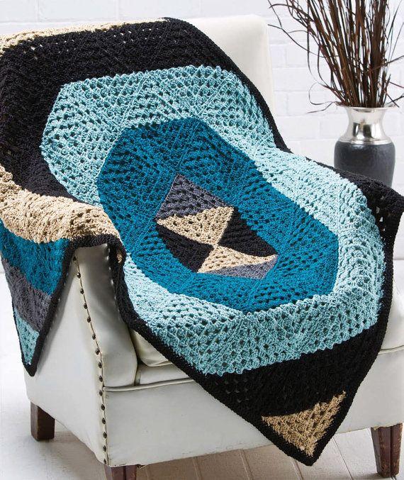 Geometric Crochet Afghan Pattern : W152 Crochet PATTERN ONLY Quantum Geometric Modern Throw ...