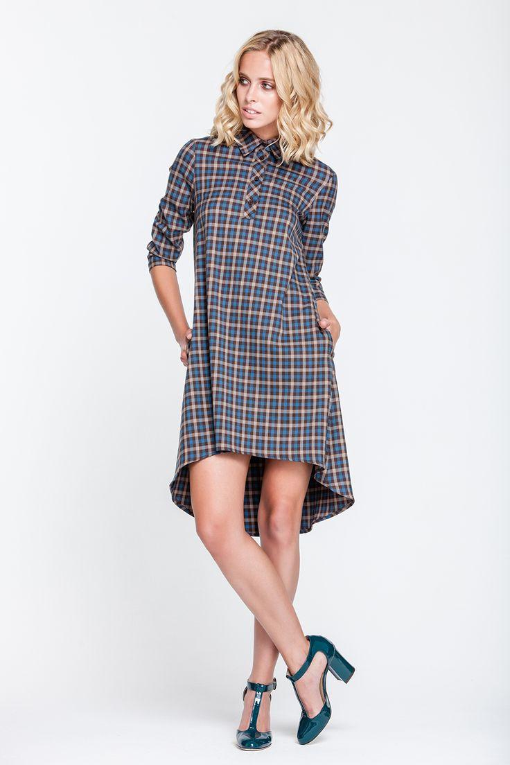 1732 Платье в коричневую клетку свободного кроя, юбка разной длины купить в Украине, цена в каталоге интернет-магазина брендовой одежды Musthave