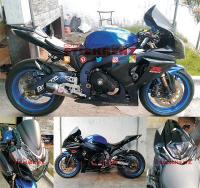 Suzuki GSX R1000 White Blue - Custom Black Glossy Wrap & Logo Text #suzuki #gsxr1000 #suzukigsxr100