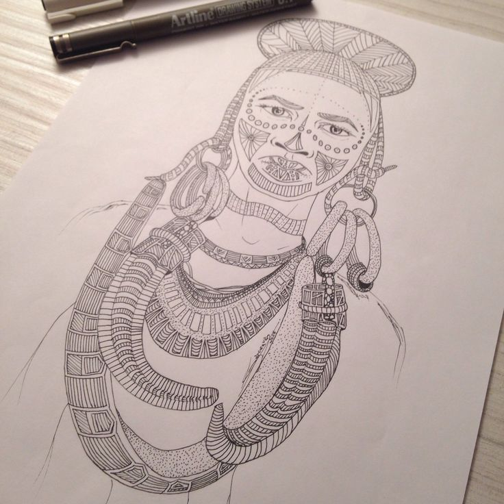 My drawing, Tribal 004, portrait of a man tribal. You like this picture ?