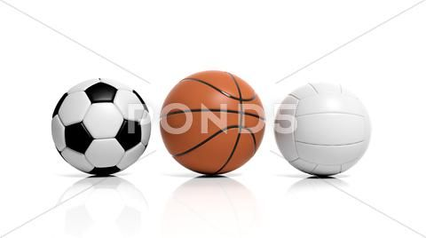 Photograph Volleyball Basketball And Soccer Balls Isolated On White 47991162 Soccer Balls Soccer Volleyball