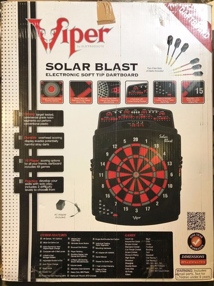 "Viper Solar Blast Electronic Soft Tip Dart Set Dartboard 15.5"" #Viper"