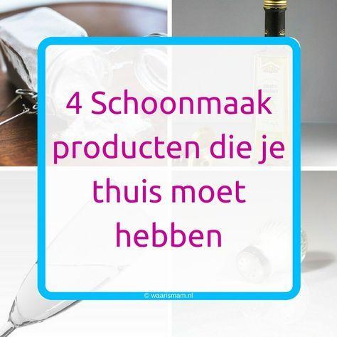 4 Schoonmaakproducten die je thuis moet hebben.  Bij waarismam.nl vind je een dagelijks ritme in je huishouden waarmee je in een uur per dag klaar bent. Bekijk de website!