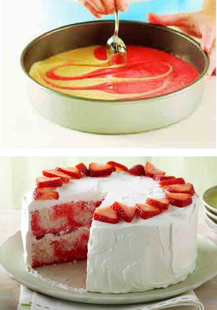 Strawberry-Swirl Cake – Compliments follow this strawberry cake recipe everywhere it goes: moist, airy, refreshing, sweet—oh and don't forget, easy!