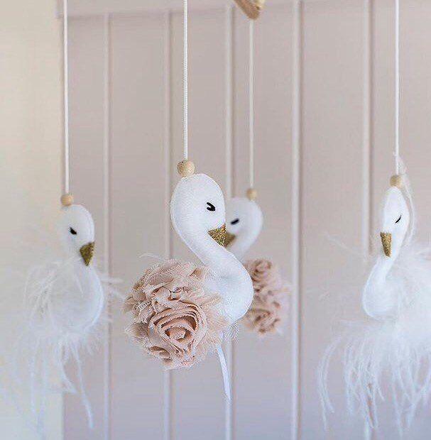 Swan Baby Nursery Mobile- Baby Girl Mobile- Swan Nursery