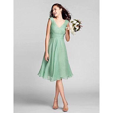 lanting+knielange+chiffon+bruidsmeisje+jurk+-+sage+grote+maten+/+tenger+a-lijn+v-hals+–+EUR+€+78.39