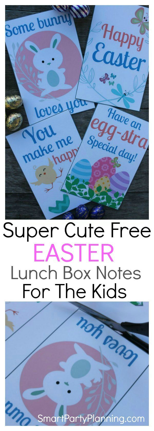 Free Printable Easter lunch box notes for kids. Download an adorable set of 4 lunch box notes that the kids will love for Easter. It's a fun and easy craft idea that will provide the children with a wonderful surprise when they open their lunch box at school. A special note from home always brighten the day and it couldn't be easier with these free printable's. #Freeprintable #Easter #Lunchboxnotes #Kids