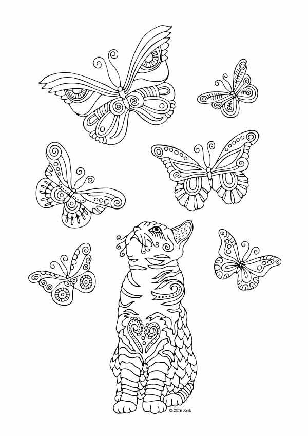 Kittens and Butterflies Coloring