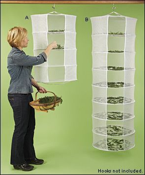 Herb Dryers — collapsible nylon mesh shelves for air drying your herbs. Shelves are 22″ in diam., come in 4 or 8 tiers with a steel frame.