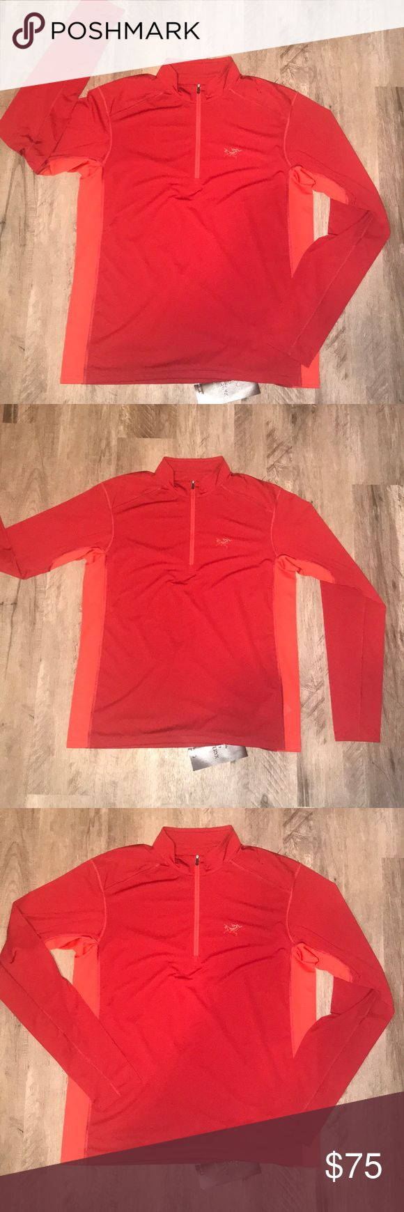Arc'teryx l/s men's Arc'teryx l/s☄️Diablo red☄️ether zip neck☄️Quick drying,odor resistant, good moisture management, and high thermal efficiency☄️Comfort ease and simplicity for hiking and trekking☄️ Arc'teryx Shirts Tees - Long Sleeve