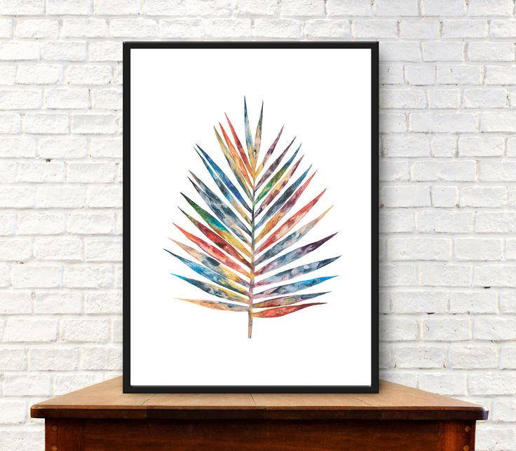 Digital download of original painting Botanical art Palm leaf by purdeybarcelona on Etsy Palm leaf art #purdeybarcelona
