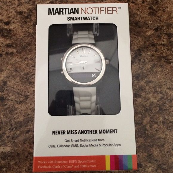 Martian smartwatch New in box. Only taken out once to play with decided to upgrade. Classy white, great for both men & women. Accessories Watches