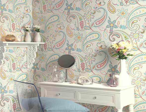 Pastel Paisley from the Paradise collection.  #paisley #pastel #wallpaper #paradise