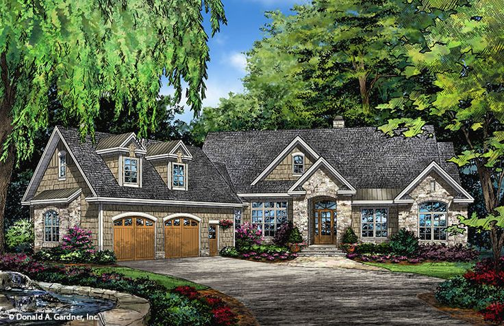 The Buckley 1345 is now available! This angled Ranch house plan features decorative dormers and arches that bring interest to this home's exterior. #WeDesignDreams