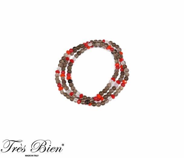 Bracciale Lungo/Collana in Quarzo Fumè, Pasta di Corallo e Cristallo. #bijoux #bracciale #fashion #streetstyle