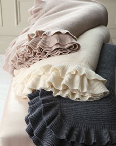 Sofia Cashmere Double-Ruffle Cashmere Throw