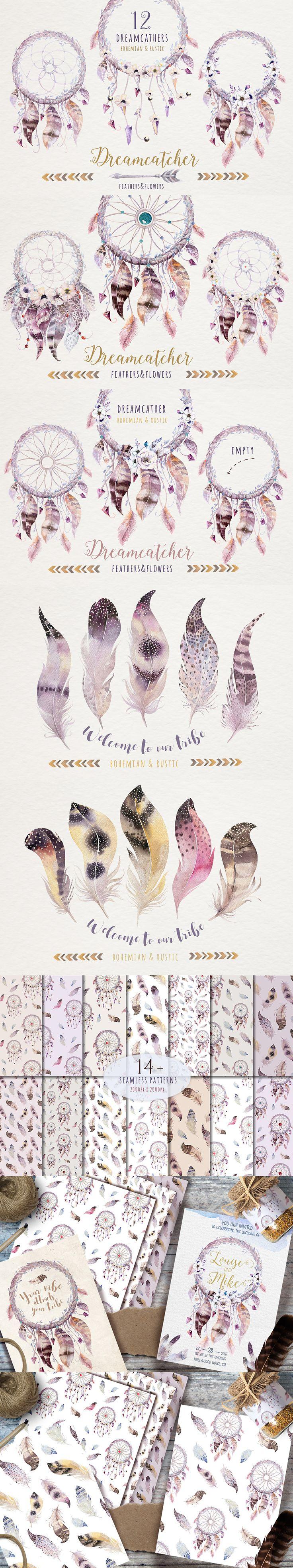Bohemian Watercolor Dreamcatchers II » Ooh, loving these feathers. so darn pretty!