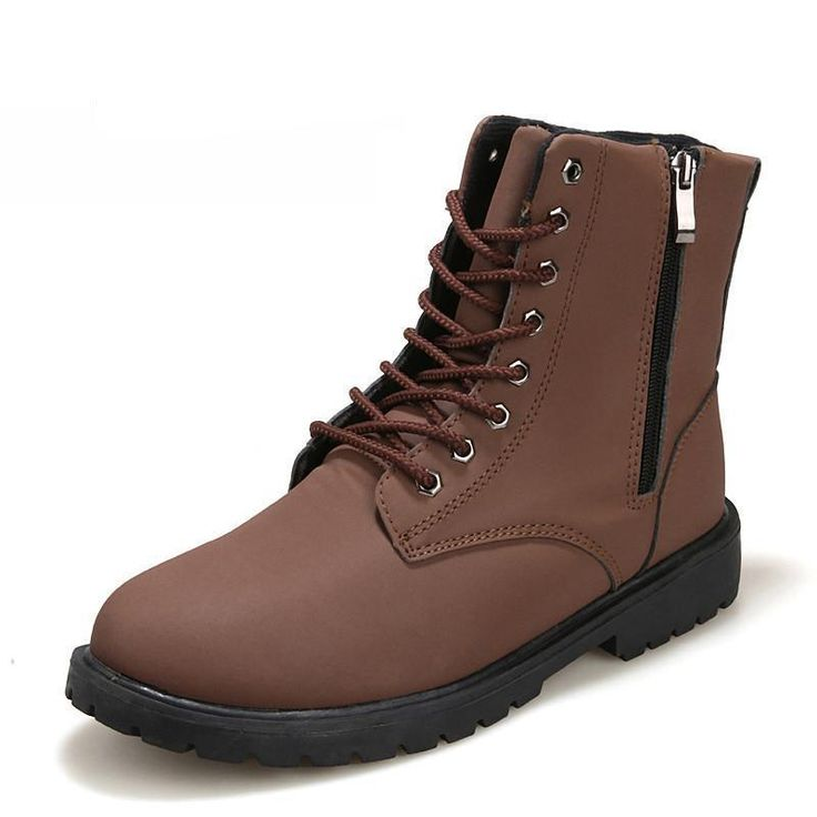 New Retro Combat Boots men Autumn Winter Leather Boots Fashionable Short Black Brown Ankle boots for men size 38-44 LS141