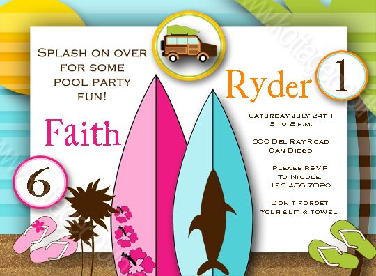 Printable Joint Birthday Party Invitations ~ Vintage surf joint birthday party invitation boy girl printable digital file at