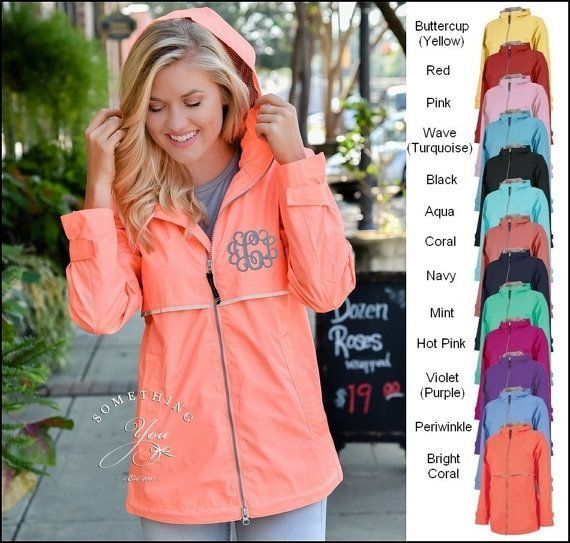 Monogrammed Rain Coat Rain Jacket - Personalized Waterproof Rain Jacket, Coral Charles River Rain Jacket, Monogram Coats, Many Colors