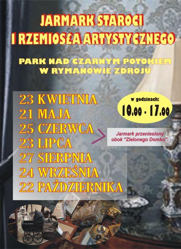 w niedzielę 23 kwietnia 2017 r. w parku nad Czarnym Potokiem w Rymanowie-Zdroju, w godz. 10-17 odbędzie się pierwszy w tym roku 'Jarmark staroci i rzemiosła artystycznego'