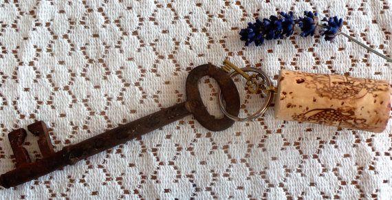 Wine Cork Keyring Steampunk Key Chain Key Ring Key by SCWVintage