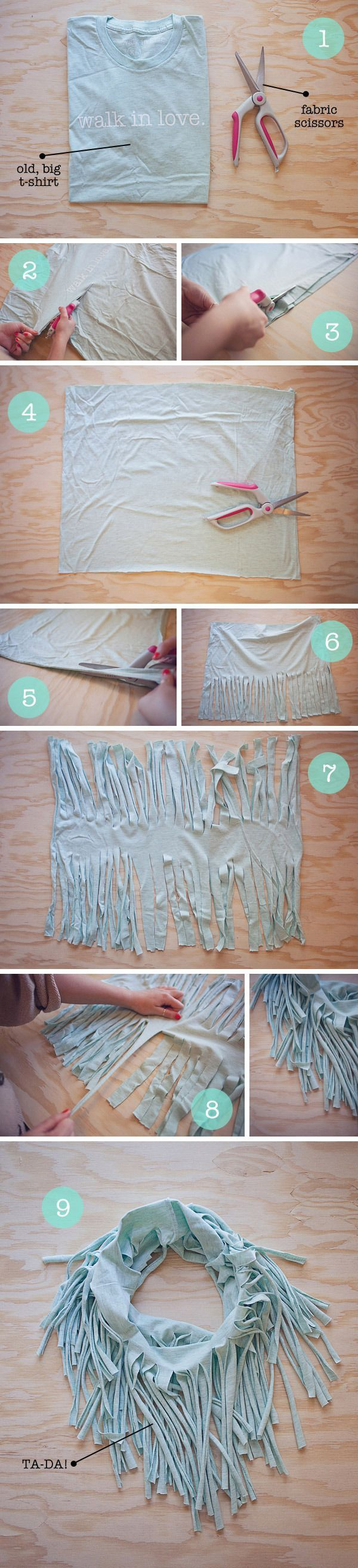 Everyone's got old t-shirts that are ignored in the wardrobe, but you can now turn an old t-shirt into an amazing scarf!