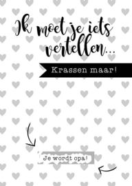 Psst ik moet je iets vertellen.... Super gave kraskaart om op unieke wijze te het grote nieuws te vertellen. Buy at www.prettypresents.nl #stationery #kaarten #kraskaarten #baby #zwanger #inverwachting