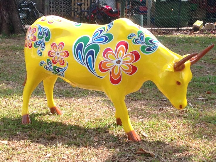Brightly coloured cow. Little India, Singapore
