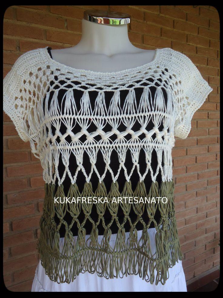 Blusa Croche de Grampo.Criado por mim. www.elo7.com.br ...