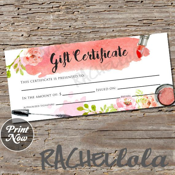 7 best certificat cadeau images on pinterest gift cards gift watercolor makeup printable gift certificate template spring direct sales mary kay gift voucher avon gift card instant digital download yadclub Images