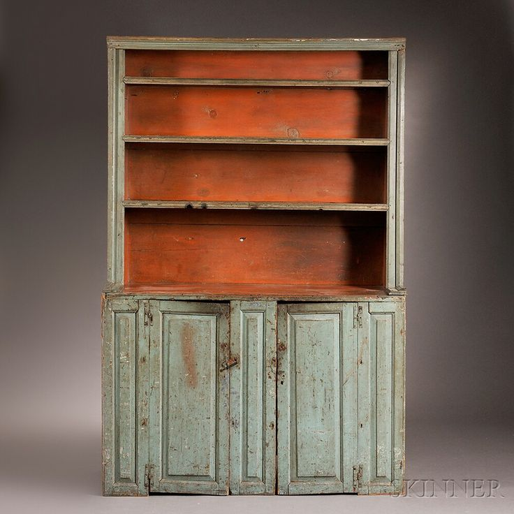 Blue  And Salmon Painted Slant Back Cupboard, Possibly Long Island, New ·  Painted CupboardsCountry FurnitureColonial ...