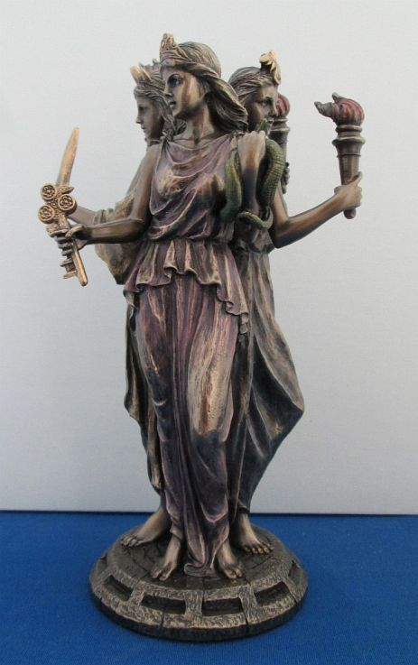 Hecate Triple Goddess Statue. Note all three faces are young & beautiful.