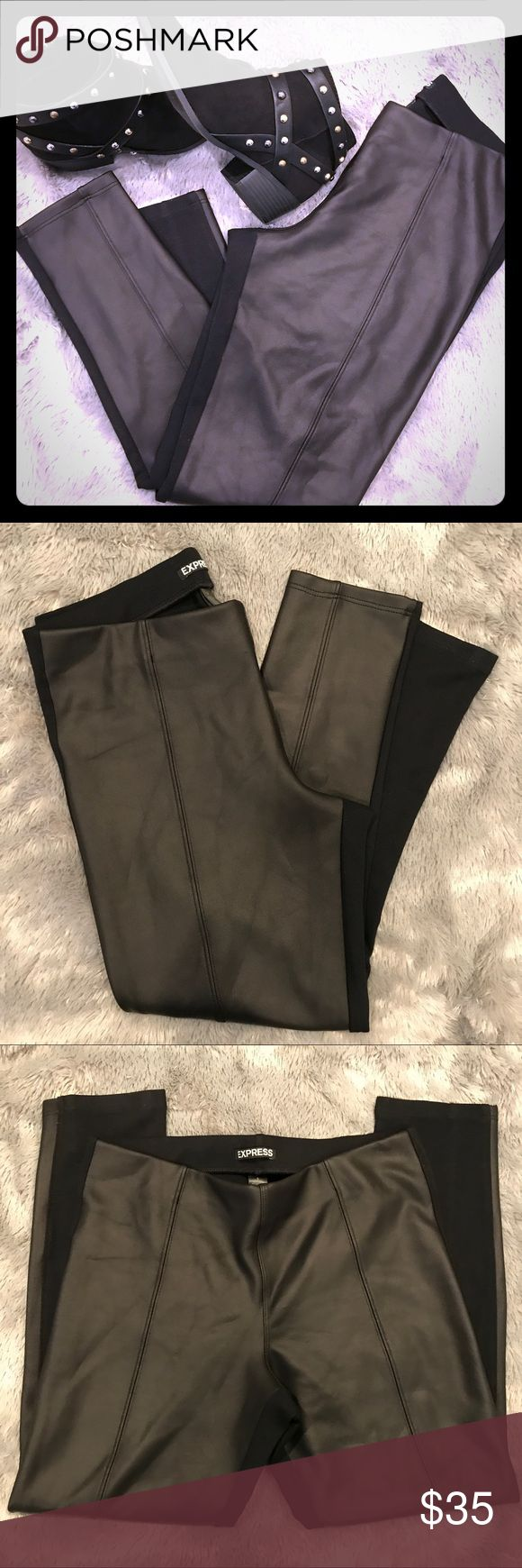 Express Black Faux Leather Panel Leggings Express Black Faux Leather Panel Leggings - Hemmed for someone who is 5'1 super cute leggings. I like them short to show my ankles when I wear heels. ❤️ Express Pants Leggings