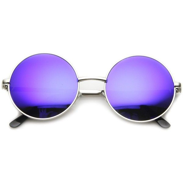 Retro Flash Color Mirror Lens Round Metal Sunglasses ($9.99) ❤ liked on Polyvore featuring accessories, eyewear, sunglasses, round mirrored sunglasses, retro round glasses, mirrored sunglasses, metal sunglasses and round glasses