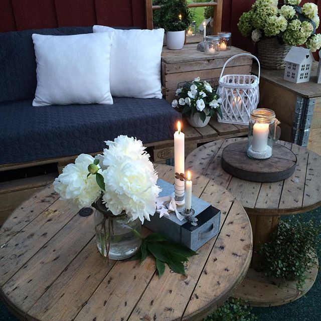 17 best images about wooden spools kabeltrommel spool for Table jardin beauty