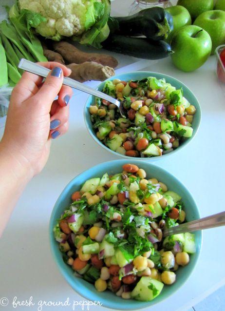 peas & beans salad with lemon-parsley dressing