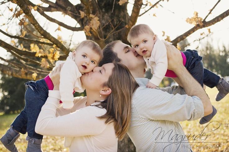 Fun family pose! 6 month twin girls. family photo idea.  Magruder Photo + Design