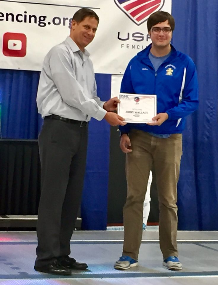 Congratulations to DFC fencer Jimmy W on his recognition as a USA Fencing Spirit of Sport Champion. Bob Bodor of USA Fencing presented the award in a ceremony on the finals strip at Nationals today. The Spirit of Sport award recognizes loyalty, service, teamwork, commitment, dedication and leadership
