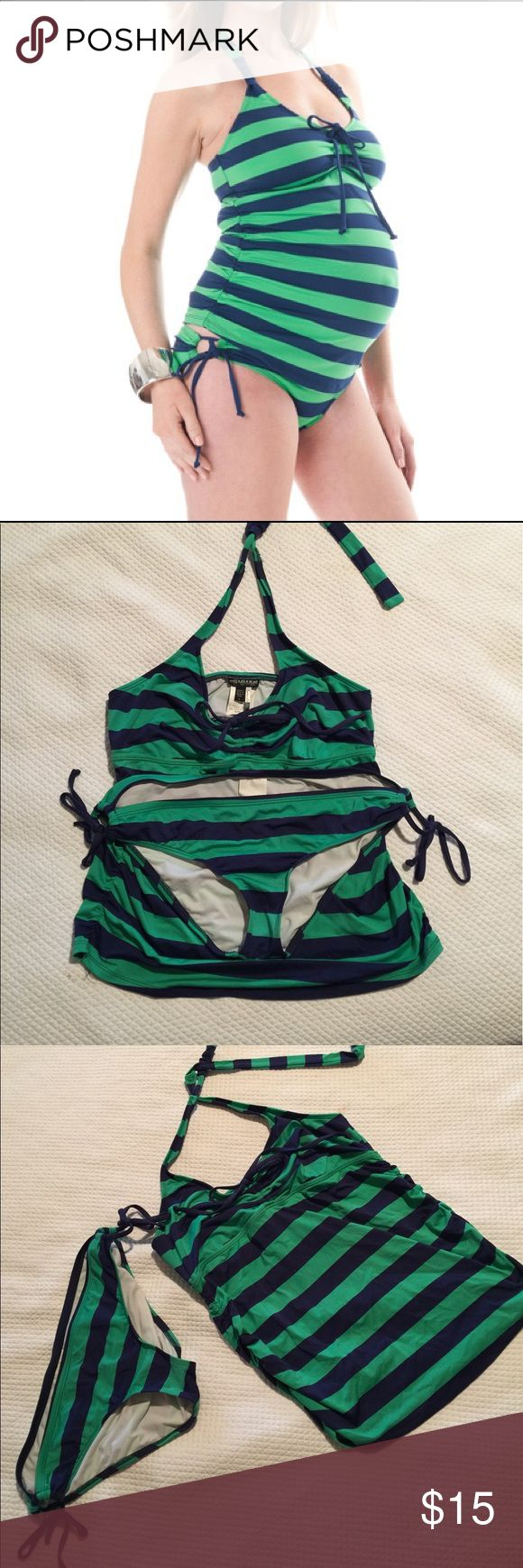 Maternity Two piece Ruched sides swimsuit. Preppy green and navy blue striped two piece maternity swim suit with halter top tie  from Splendid and Pea in the Pod Collection.  Worn only twice and in normal used condition. A Pea in the Pod Swim