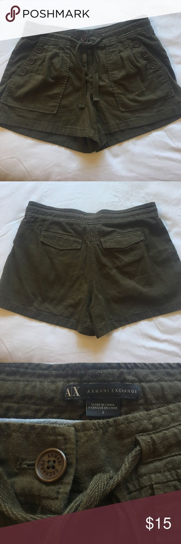 Armani Exchange Shorts Lightweight, very soft and comfortable 70% continues 20% polyester 10% lyocell. Used but still in good condition no holes or stains. A/X Armani Exchange Shorts