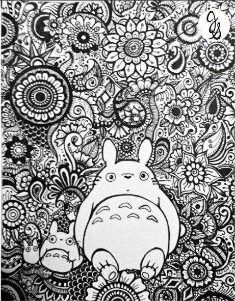 totoro floral design by byjamierose on etsy adult coloring pagescoloring - Neighbor Totoro Coloring Pages
